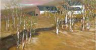 Birch Tree Farm   Bob Ferrucci Art   Contemporary American Folk Art