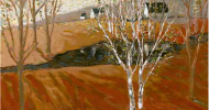 Birch Tree Pond | Bob Ferrucci Art | Contemporary American Folk Art