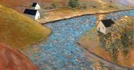 farm painting, folk art, american folk art, landscapes