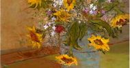 Sunflowers, floral artwork, floral art, Bob Ferrucci Art