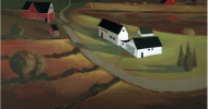 Twilight, country landscape, You can follow the road going past the white barn and house then the red barn on the left and the edge of the dark lake on the right.