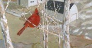 cardinal artwork, barn art, folk art, primitive art, country scenes