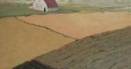 farm landscape, folk art, american folk art, landscapes, barn
