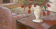 tulip artwork, floral artwork, folk art, american folk art, primitive art