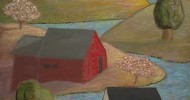 country artwork, folk art, american folk art, landscapes