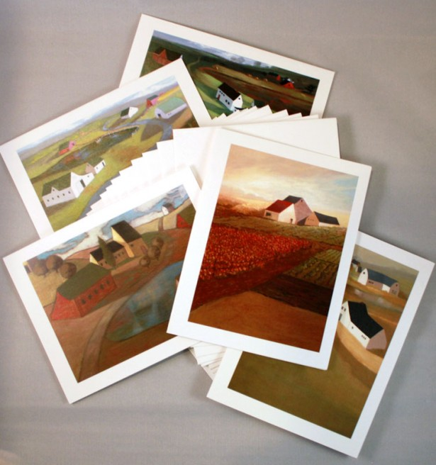 Package of Artist Note Cards contains 10 Cards & Envelopes - 5 different pictures 2 of each.